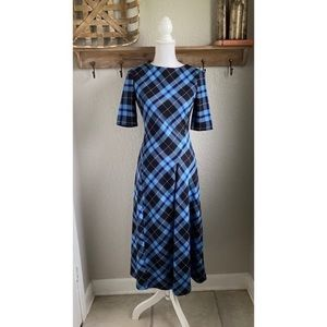 NEW Zara Plaid Tartan Midi Dress